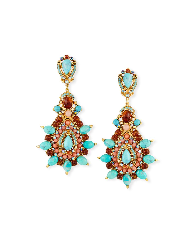 Jose & Maria Barrera Starburst Cabochon Teardrop Clip-On Earrings Ju5t6