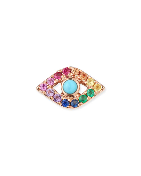 Image 1 of 2: Sydney Evan 14k Large Rainbow Sapphire Evil Eye Single Stud Earring