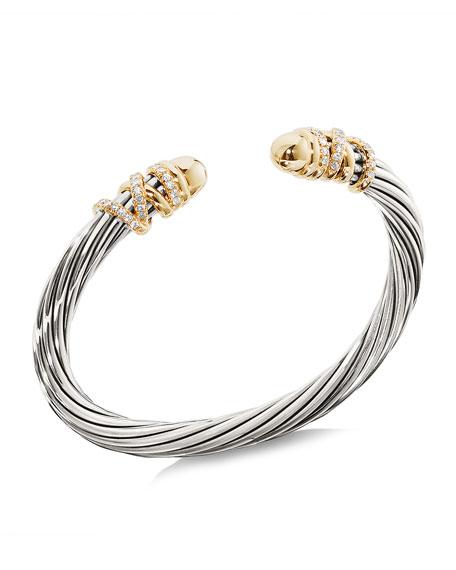 David Yurman Helena Bracelet w/ Diamonds & Domed Ends