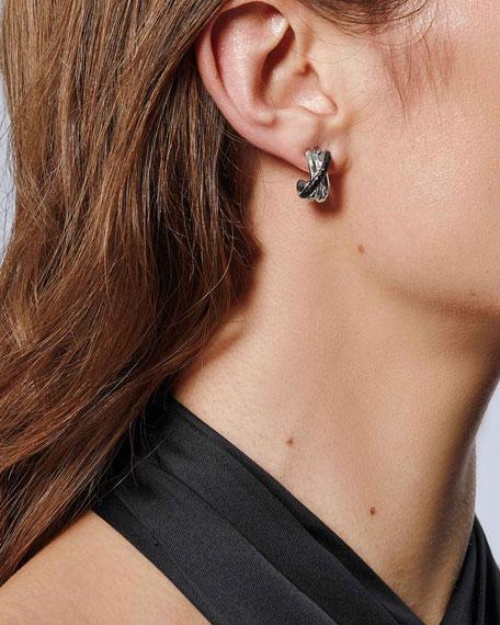John Hardy Bamboo Silver J Hoop Earrings w/ Black Sapphire & Spinel