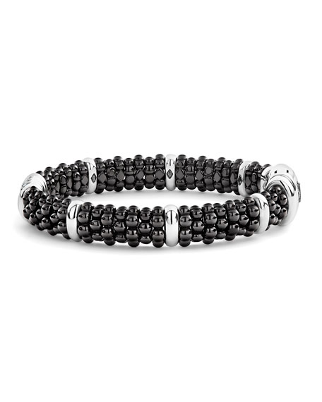 Image 3 of 5: Lagos Black Caviar Diamond 3-Link Bracelet, 9mm