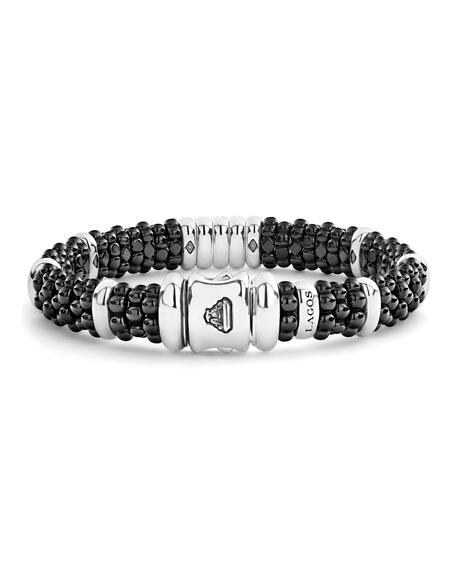 Image 4 of 5: Lagos Black Caviar Diamond 3-Link Bracelet, 9mm