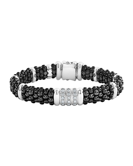 Image 1 of 5: Lagos Black Caviar Diamond 3-Link Bracelet, 9mm