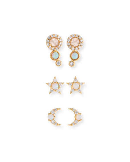 TAI Opal Stud Earrings, Set Of 3 in White