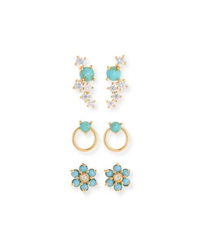 Tai Turquoise Earrings Set Of 3
