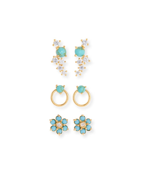 TAI Turquoise Earrings, Set Of 3