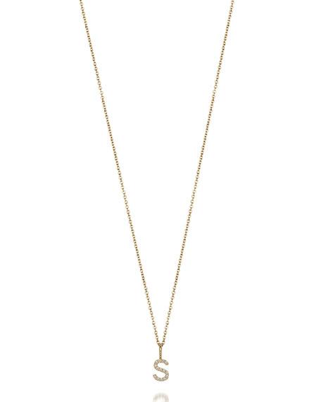 SARAH CHLOE Mini Amelia Diamond Initial Pendant Necklace in Gold