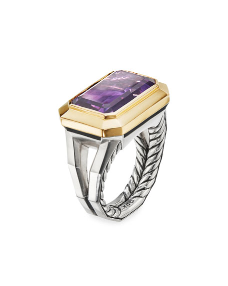 David Yurman Novella 16mm Stone Ring w/ 18k Gold & Amethyst/Citrine, Size 5-8