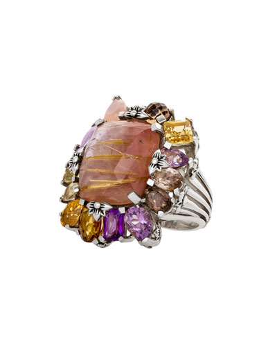 Multi-Stone Cluster Ring  Light Pink