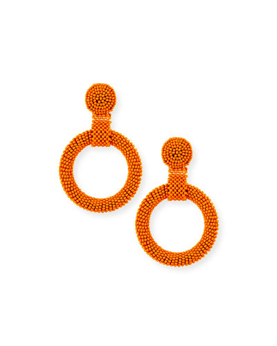 Gypsy Hoop Drop Earrings  Coral