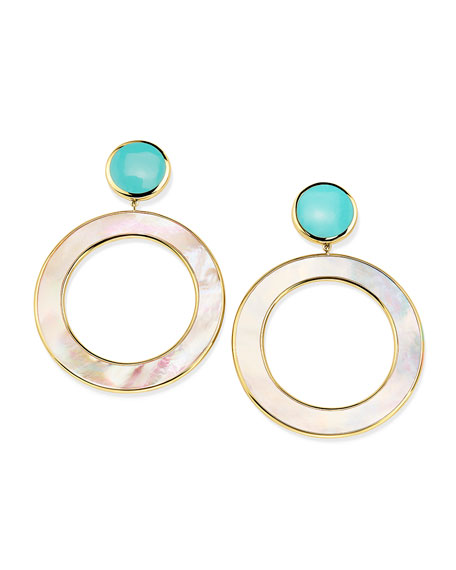 Image 1 of 3: Ippolita 18K Polished Rock Candy Dot & Circle Earrings in Mother-of-Pearl & Turquoise