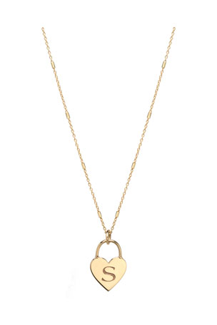 Zoe Chicco 14k Small Engraved Initial Heart Padlock Necklace $425.00