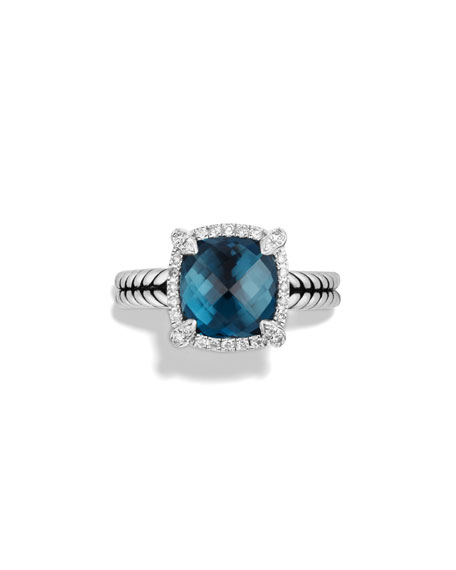 Image 3 of 4: David Yurman 9mm Châtelaine Ring with Diamonds in Blue Topaz