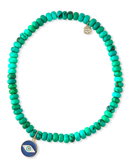 Sydney Evan 14k Enamel Evil Eye & Green Turquoise Bracelet