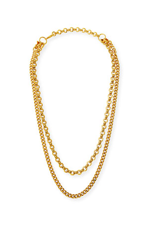 Jose & Maria Barrera Hammered Long 2-Chain Necklace