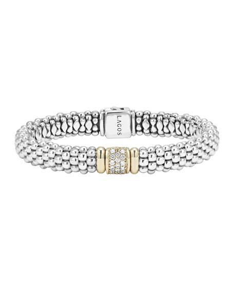 LAGOS Silver Caviar Bracelet with 18k Gold, 9mm