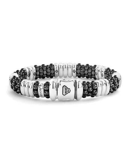 LAGOS Black Caviar Diamond 3-Link Bracelet - 9mm, Size S