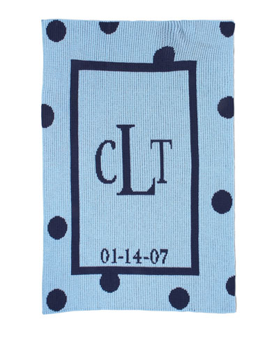 Polka-Dot Knit Blanket, Blue