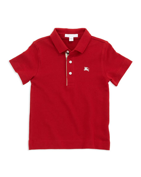 Burberry Linter Check-Trim Polo, Red, 4Y-10Y