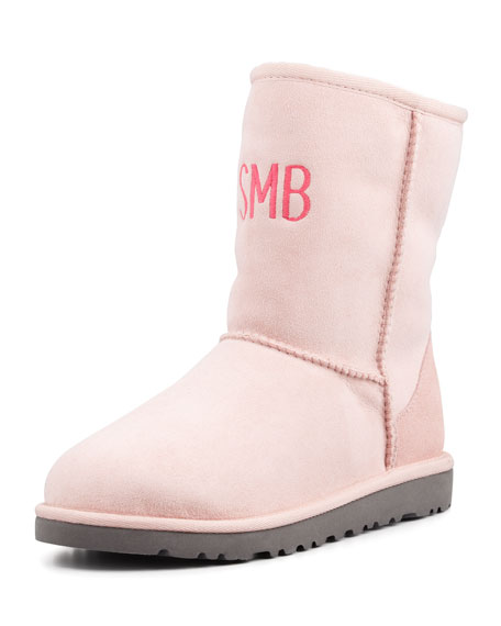Monogrammed Classic Short Boot, Baby Pink, 5Y-6Y