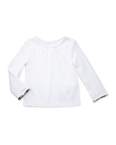 Long-Sleeve Check-Detail Shirt, White, 3-18 Months