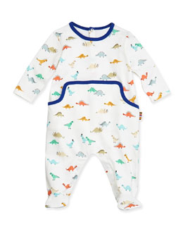 Paul Smith Dinosaur-Print Knit Footie, 3M-3T