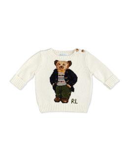Ralph Lauren Childrenswear Intarsia-Knit Bear Sweater, Northern Sky, 3-12 Months