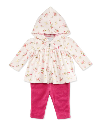 Ralph Lauren Childrenswear Floral-Print Velour Hooded Jacket & Pants Set, Pink Multi, 3-24 Months
