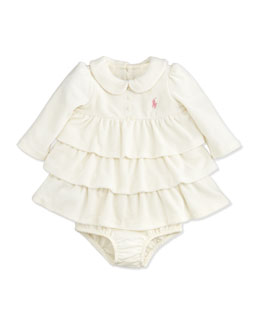 Ralph Lauren Childrenswear Tiered Velour Dress, Antique Cream, 3-24 Months