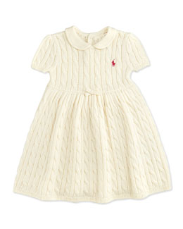 Ralph Lauren Childrenswear Cable-Knit Dress, Essex Cream, 9-24 Months
