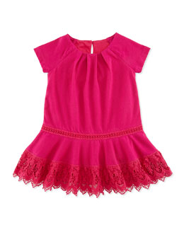 Ralph Lauren Childrenswear Jersey Dress with Lace Trim, Currant, 9-24 Months