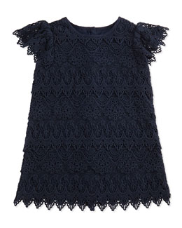 Ralph Lauren Childrenswear Tiered Lace Shift Dress, Aviator Navy, 9-24 Months