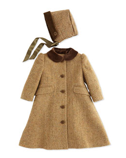Ralph Lauren Childrenswear Herringbone Tweed Coat and Bonnet, Tan/Multi, 9-24 Months