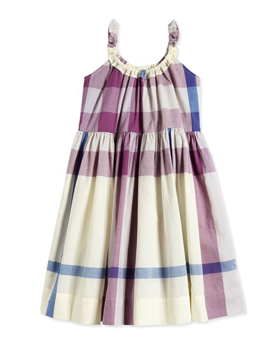 Check-Print Poplin Dress, Pale/Mauve, Size 4-14