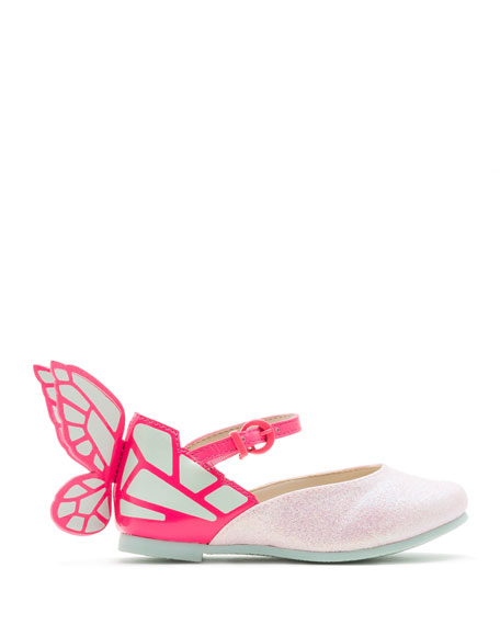 Chiara Leather-Trim Butterfly Mary Jane Flat, Toddler