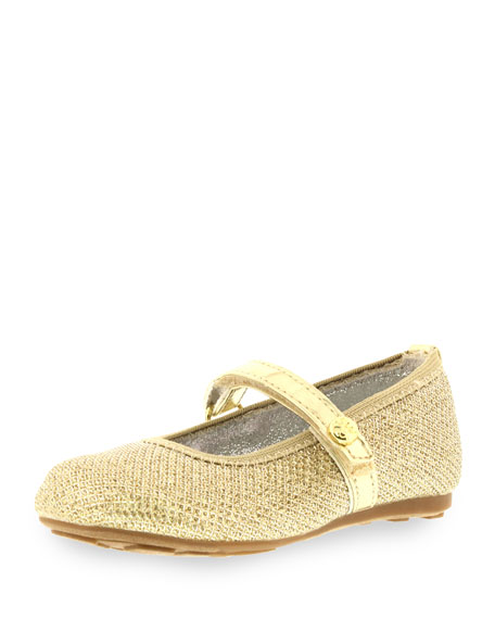 Stuart Weitzman Fannie Metallic Faux-Leather Ballet Flat,