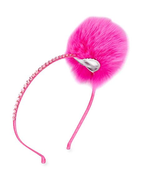 Girls' Headband with Fur Pompom