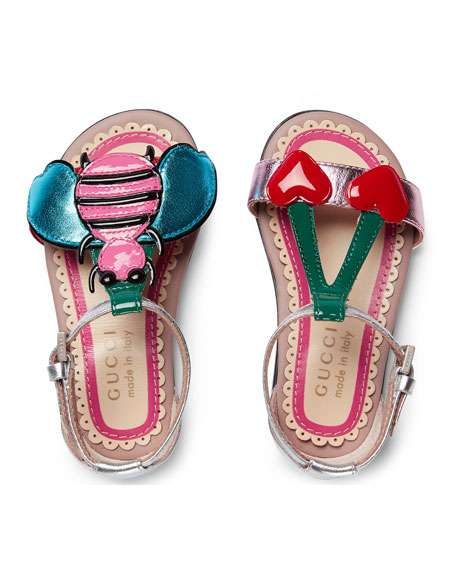 Metallic Leather Graphic Sandals, Toddler Sizes 4-10