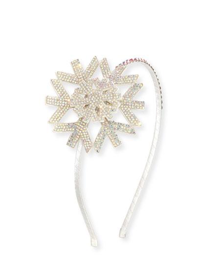Bari Lynn Girls' Crystal Snowflake Headband