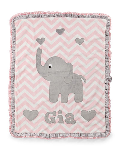 Personalized Big Foot Elephant Plush Blanket  Pink