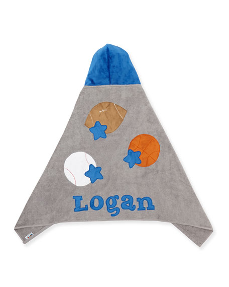 Boogie Baby Personalized Good Sport Hooded Towel, Gray/Blue