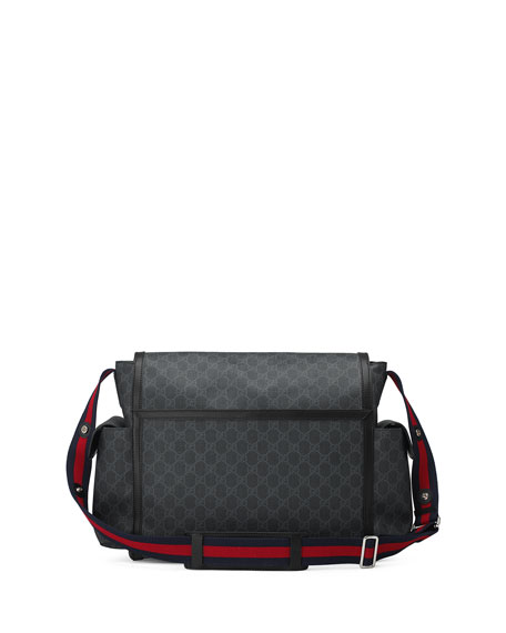 Gucci Basic GG Supreme Canvas Diaper Bag, Black