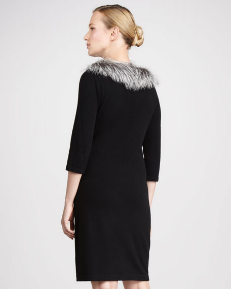 Fur-Trim Cashmere Dress