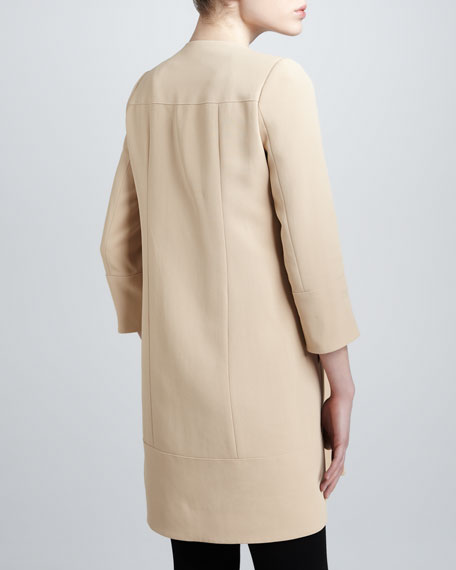 Leather-Trim Crepe Coat