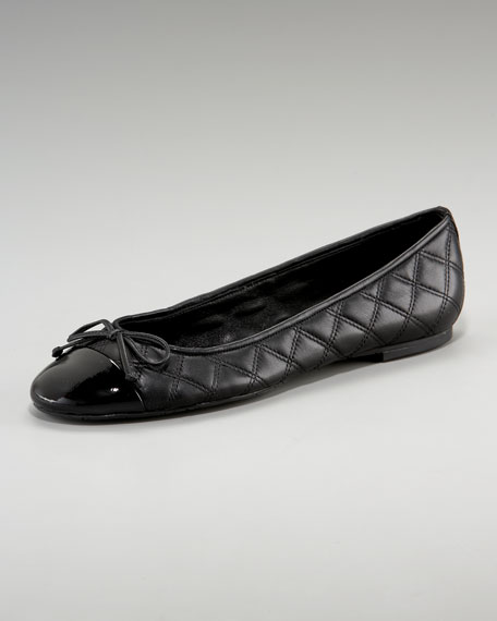 Quilted Bow-Toe Ballerina Flat