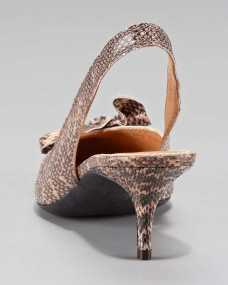 Bow-Toe Python Slingback