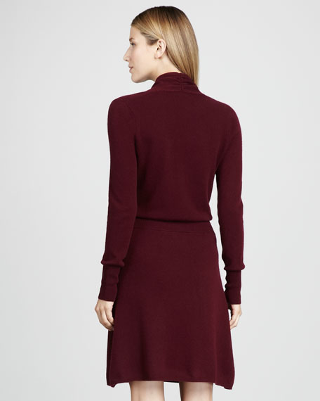 Faux-Wrap Cashmere Dress