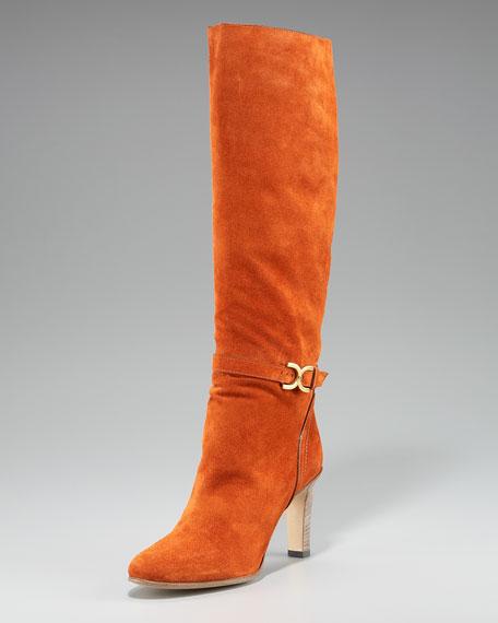Marcie-Buckle Suede Boot