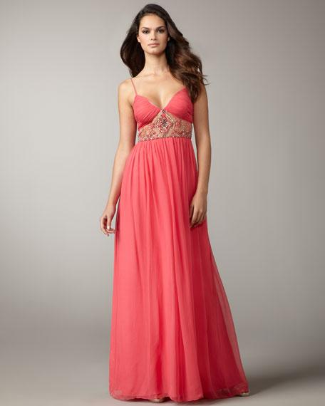 Beaded-Waist Chiffon Gown