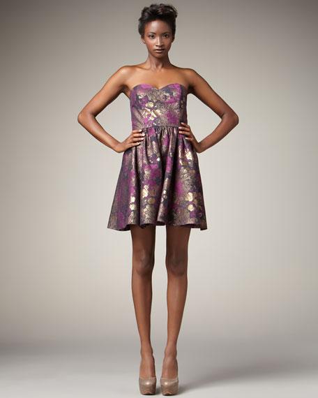 Metallic Floral-Print Dress